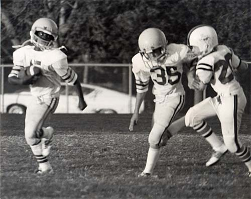 In this undated photo, Craig Dunning pursues an opponent. This may be the only existing photo of Dunning in action on a football field.