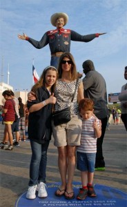 Colleen, Grace, Zach, and Big Tex at the State Fair of Texas 2015