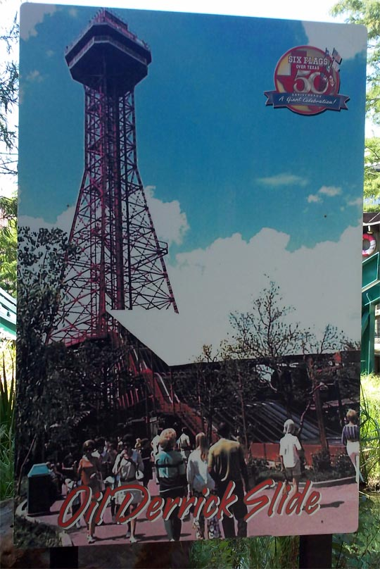 Oil Derrick Super Slide at Six Flags Over Texas, circa 1960s-1970s.