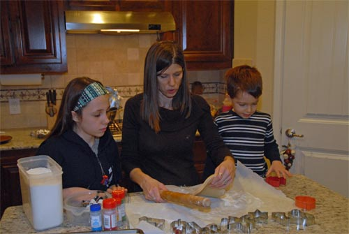 Colleen, Grace, and Zach making Christmas cookies, December 20, 2015.