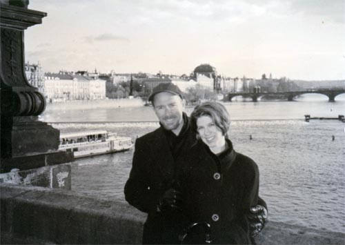 Craig and Colleen, standing on the Charles Bridge (Prague, Czech Republic) after he asked her to marry him, 2 NOV 1998.