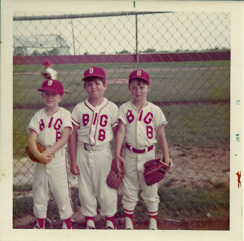 Craig Dunning, Richard Cox, and David Cox at the field before their game, Summer 1973.